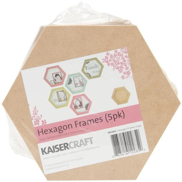 Beyond The Page MDF Hexagon Frames 5/Pkg - 6 X6 X.75