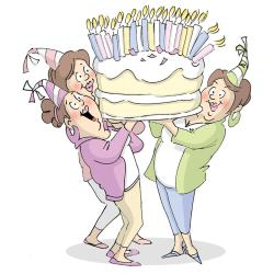 Art Impressions Girlfriends Cling Rubber Stamp 9 X4.5 - Giant Cake