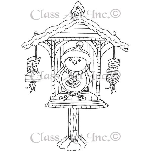 Class Act Cling Mounted Rubber Stamp 4.25 X6 - Birdy Lunch