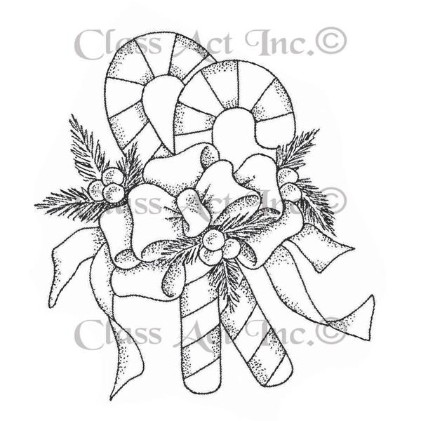 Class Act Cling Mounted Rubber Stamp 3 X5.5 - Candy Canes