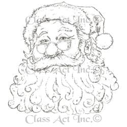 Class Act Cling Mounted Rubber Stamp 4 X5.75 - Santa W/Glasses