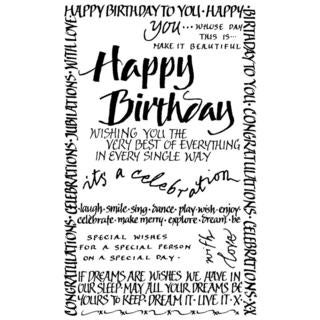 Crafty Individuals Unmounted Rubber Stamp 4.75 X7 Pkg - Happy Birthday Calligraphy