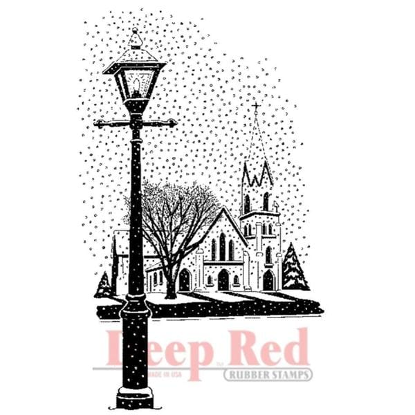 Deep Red Cling Stamp 2 X3 - Winter Church
