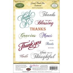 JustRite Papercraft Cling Stamp Set 4 X6 - Grand Thank You Sentiments 12pc