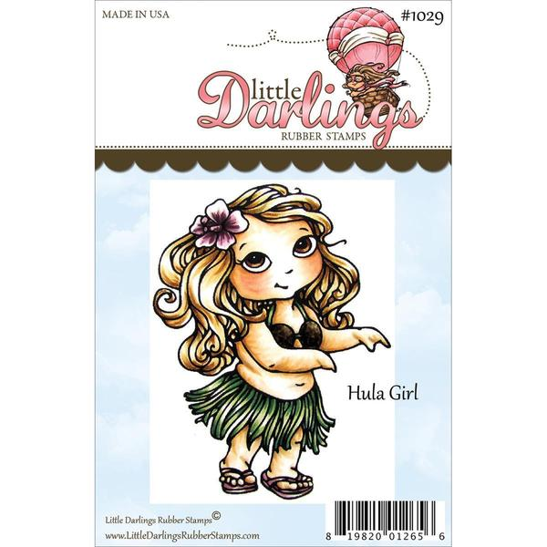 Cutie Pies Unmounted Rubber Stamp 3.25 X2.475 - Hula Girl