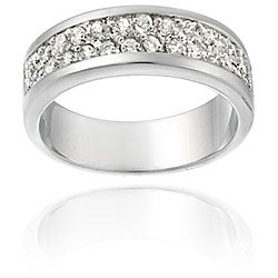 Icz Stonez Sterling Silver Two Row CZ Band Ring