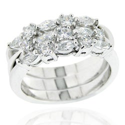 Icz Stonez Sterling Silver CZ 3-piece Stackable Ring