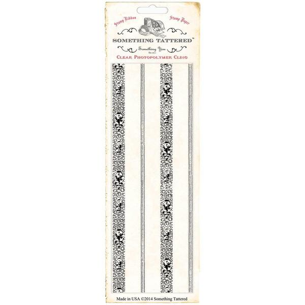 Something Tattered Wallpaper Background Clear Stamp 3 X8 - Vintage Stripe