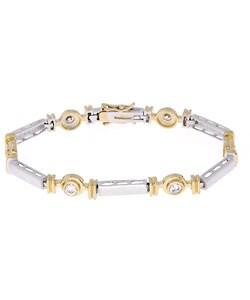 ICZ Stonez 18k Gold over Silver Two-tone Cubic Zirconia Bracelet