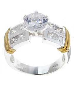 Icz Stonez Sterling Silver Two-tone Band with CZ Ring