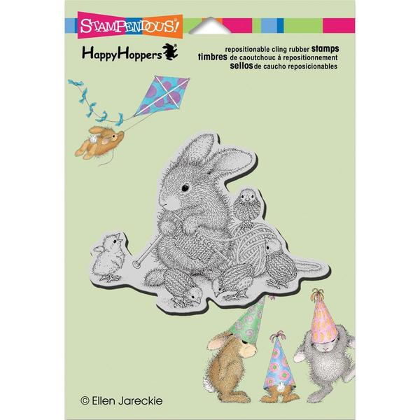Stampendous HappyHopper Cling Rubber Stamp 5.5 X4.5 Sheet - Knit Chick Purl 2