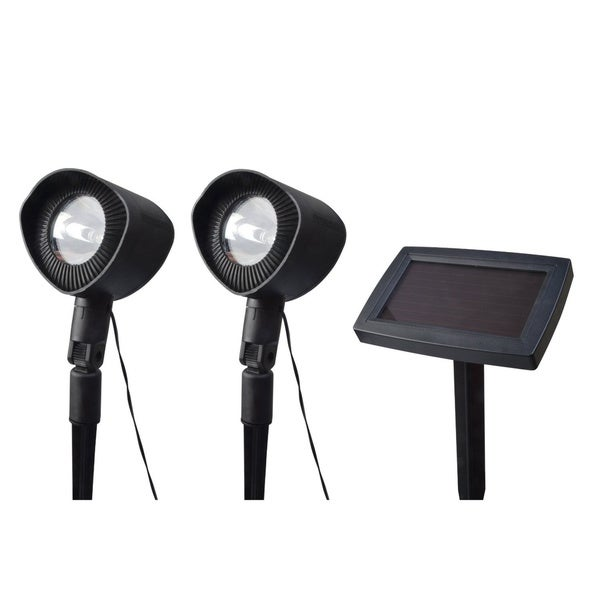 Black Outdoor Spotlight with Solar Panel (Set of 2)