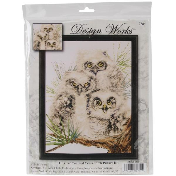 Owl Trio Counted Cross Stitch Kit - 11 X14 14 Count