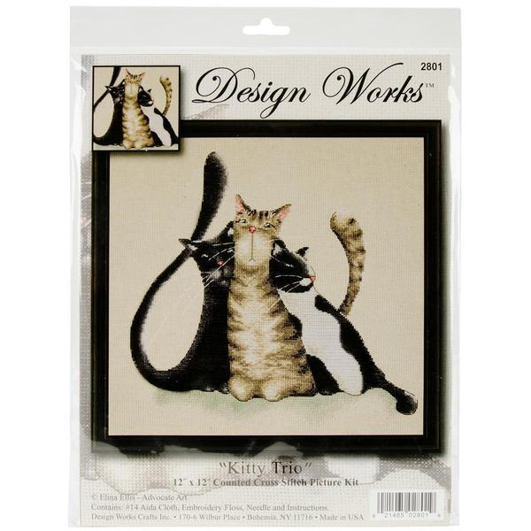 Kitty Trio Counted Cross Stitch Kit - 12 X12 14 Count