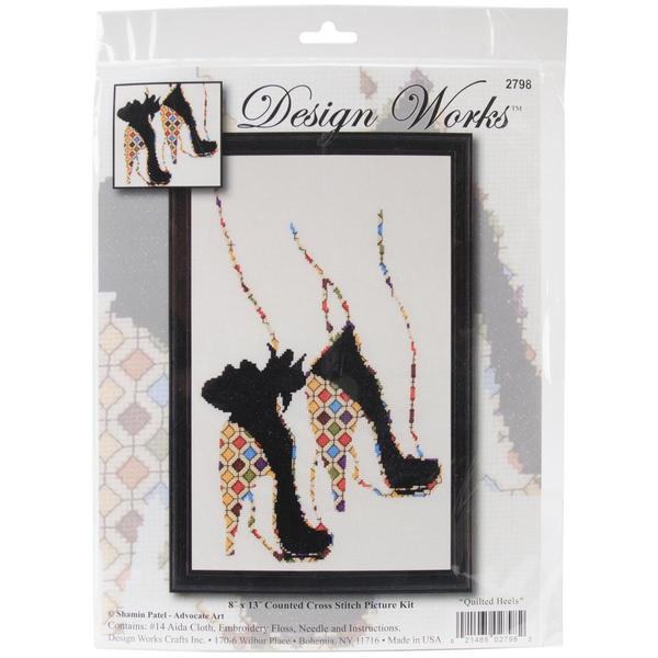 Quilted Heels Counted Cross Stitch Kit - 8 X13 14 Count