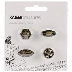 Treasures Metal Door Knobs .75 X.75 .5 To 1 X.5 X.5 4/Pkg - Antique Brass