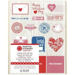 Martha Stewart Valentine Mounted Stamp Set 5 X6.25 - Love Notes