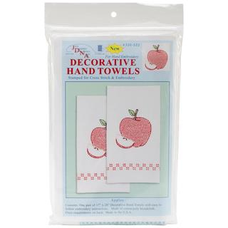 Stamped White Decorative Hand Towel 17 X28 One Pair - Apples