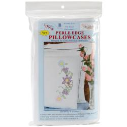 Stamped Pillowcases With White Perle Edge 2/Pkg - Butterfly & Flowers