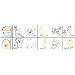 Stamped Cloth Nursery Books 8 X8 12 Pages - Barnyard Friends