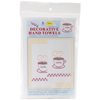 Stamped White Decorative Hand Towel 17 X28 One Pair - Coffee Time