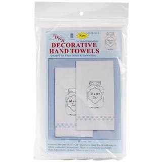 Stamped White Decorative Hand Towel 17 X28 One Pair - Mason Jar