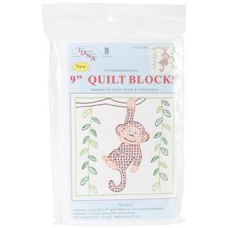 Stamped White Quilt Blocks 9 X9 12/Pkg - Monkey