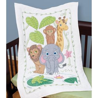 Stamped White Quilt Crib Top 40 X60 - Jungle