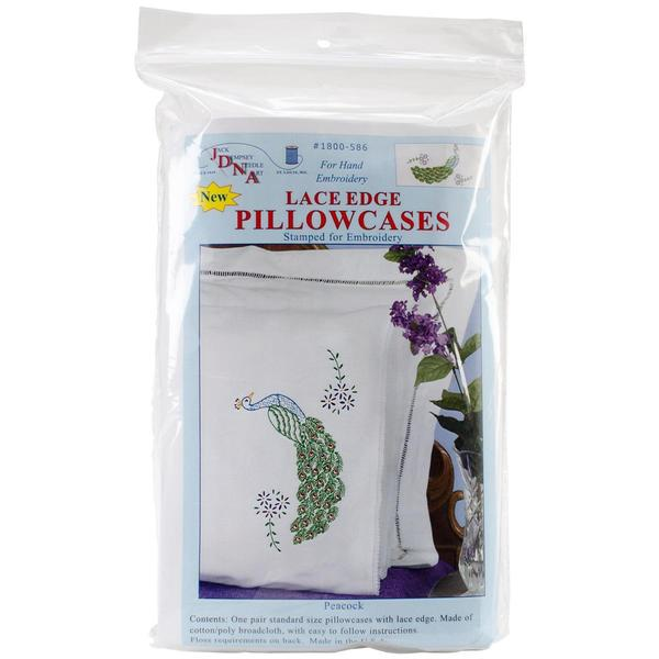 Stamped Pillowcases With White Lace Edge 2/Pkg - Peacock