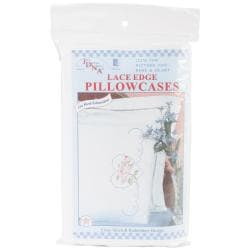 Stamped Pillowcases With White Lace Edge 2/Pkg - Rose & Hearts