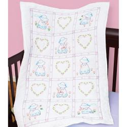 Stamped White Quilt Crib Top 40 X60 - Sunbonnet Sue