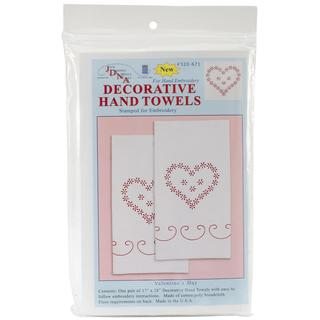 Stamped White Decorative Hand Towel 17 X28 One Pair - Valentine's Day