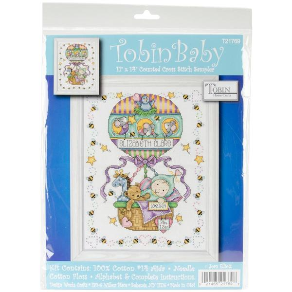 Balloon Ride Birth Record Counted Cross Stitch Kit - 11 X14  14 Count 12609785
