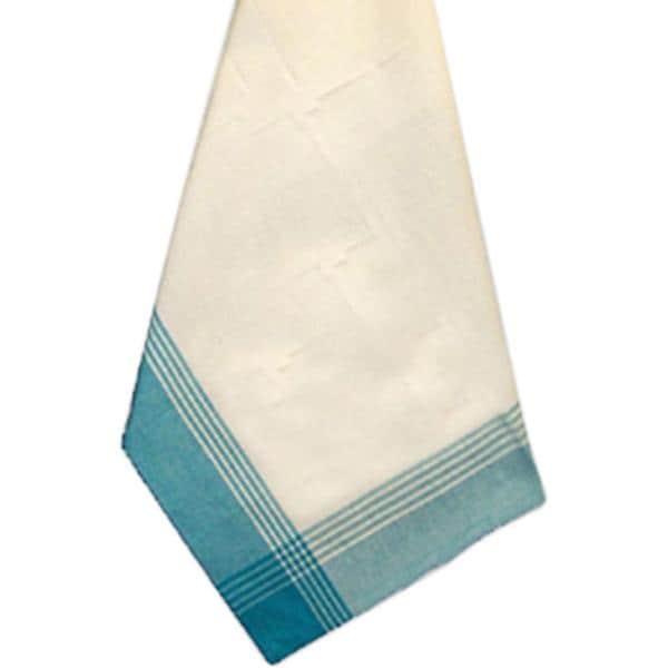 White & Turquoise Stripe Mcleod Towel 20 X28 -