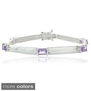 Glitzy Rocks Sterling Silver Multicolor Gemstone Bracelet