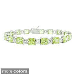 Icz Stonez Silver Princess and Round Colored CZ Bracelet