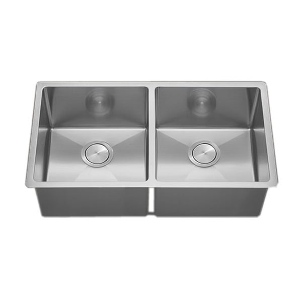 VL 33-inch Tight Radius Square 18-gauge Stainless Steel Double Bowl Undermount Kitchen Sink