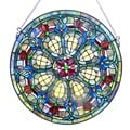 Victorian Design Round Stained Glass Window Panel
