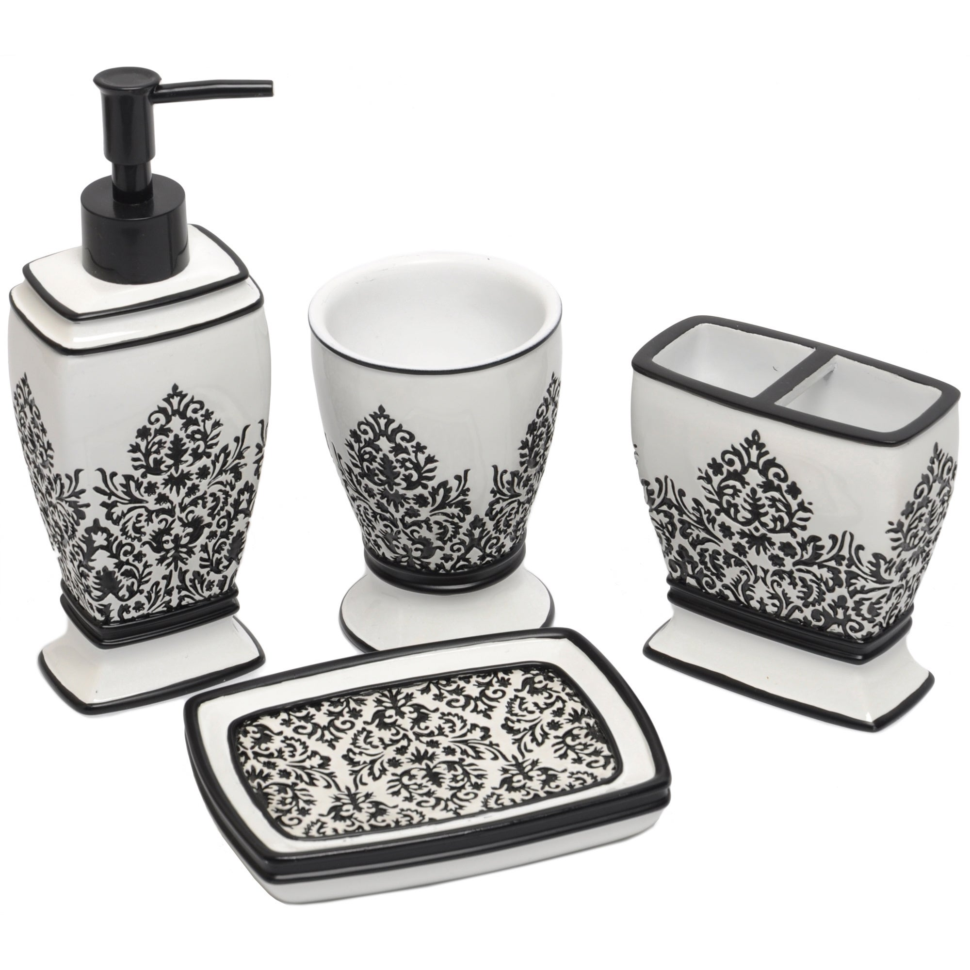 Black white damask bath accessory 4 piece set overstock for Black bathroom ensembles