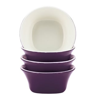 Rachael Ray Dinnerware Round & Square 4-piece Purple Stoneware Fruit Bowl Set