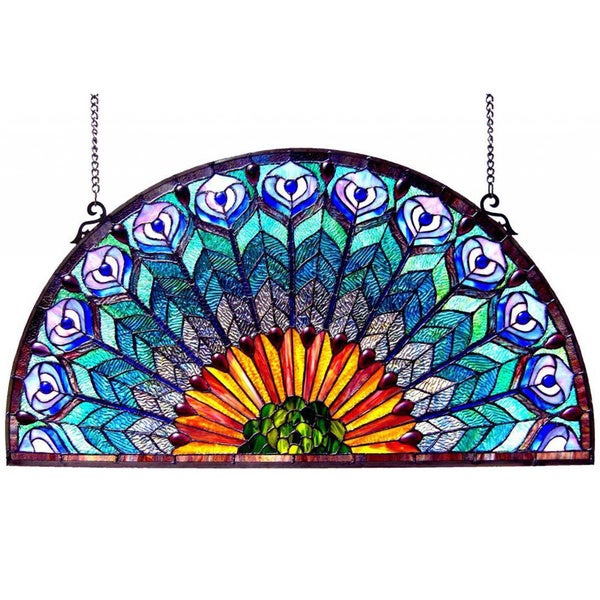 Peacock Design Half Round Stained Glass Window Panel