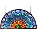 Tiffany-style Peacock Design Half Round Window Panel
