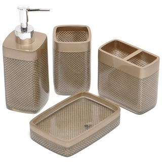 Gold Mesh Bath Accessory 4-piece Set