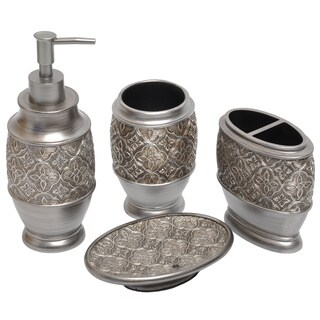 Kasbar silver bath accessory 4 piece set overstock for Silver bathroom set