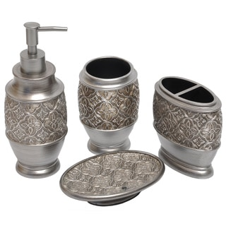 Kasbar Silver 4-piece Bath Accessory Set