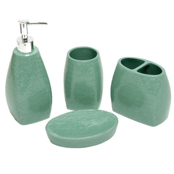 Petals turquoise bath accessory 4 piece set 16098376 for Aqua bathroom accessories sets