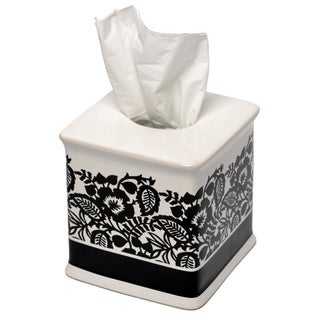 Waverly Esmee Black and White Tissue Holder