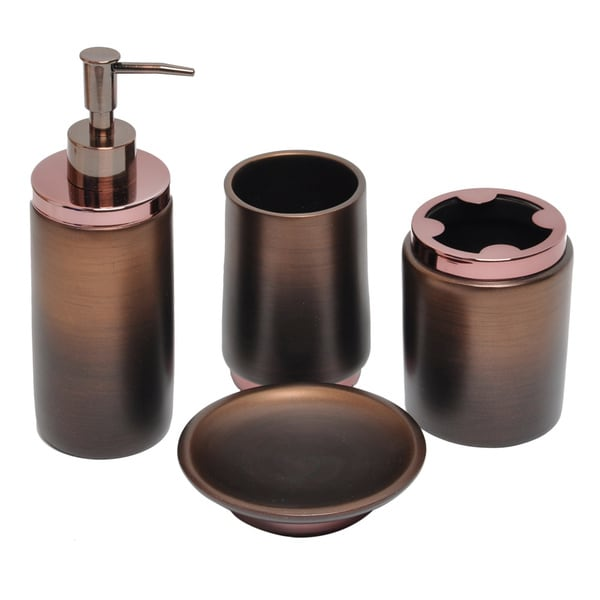 Oil rubbed bronze bath accessory 4 piece set 16098375 - Rubbed oil bronze bathroom accessories ...