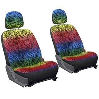 Oxgord Zebra Tiger Rainbow 6-piece Low Back Bucket Seat Covers