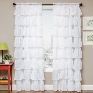 Shaina White Rod Pocket Curtain Panel